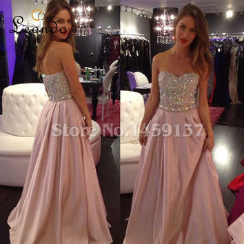 elegant luxury long prom Dresses 2017 sweetheart beaded sleeveless chiffon women formal guest dress for wedding party