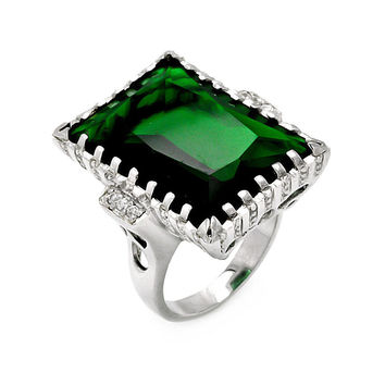 925 Sterling Silver Large Rectangle Green Created Emerald CZ Ring Measurement: 27.7mm X 19.6mm