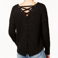 American Rag Lace-Up-Back Sweater, Only at Macy's - Juniors Sweaters - Macy's