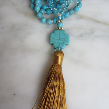 Beaded Tassel Necklace, Cross Necklace,Hand-knotted Semi-Precious Turquoise, gold silk tassel, Boho Chic, Rustic Chic, Cross Charm