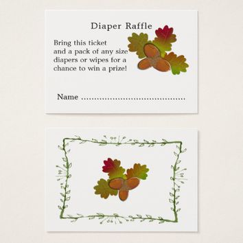 From Little Acorns Baby Shower Diaper Raffle Business Card