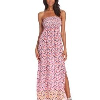 eight sixty Women's Rouched Bust Strapless Maxi, Jigsaw Floral, Medium
