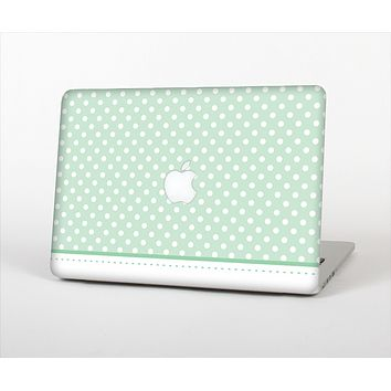 The Vintage Light Green Polka Dot With White Strip Skin Set for the Apple MacBook Air 13""