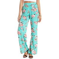 HIGH-WAISTED FLORAL PRINT PALAZZO PANTS