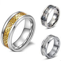 Punk 8mm Stainless Steel Party Cocktail Ring For Men