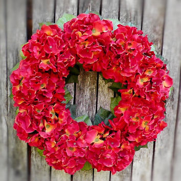WREATHS | Fall Door Wreath | Hydrangea Wreaths | Front Door Wreaths | Wreaths for Door | Fall Porch Decor Ideas Red