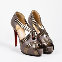 QIYIF Grey and Gunmetal Metallic Christian Louboutin Peep Toe  Josefa 120  Pumps