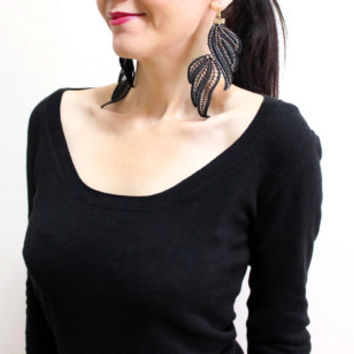 Black Lace and gold earrings, Leaf, Steampunk Jewelry, Black Bold Lace Fashion Models Jewelry, Rocker Jewelry