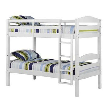 Appealing White Twin Wood Bunk Bed