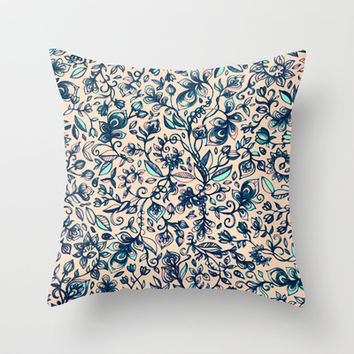 Teal Garden - floral doodle pattern in cream & navy blue Throw Pillow by micklyn | Society6