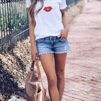 White Eyelash Mouth Print Casual Going out T-Shirt