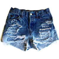 Custom Made High Waisted Shorts Bleached and by shortyshorts