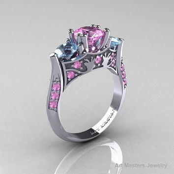 Nature Inspired 14K White Gold Three Stone Light Pink Sapphire Aquamarine Solitaire Wedding Ring Y230-14KWGAQLPS