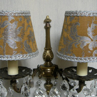 Pair of Chandelier Wall Sconce Clip On Lamp Shades in Bronze & Silver Silk Jacquard Rubelli Les Indes Galantes Pattern - Made in Italy