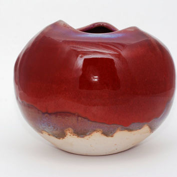 Red Porcelain Bowl,  pottery flower vase, red and white pottery vase, Copper red bowl.