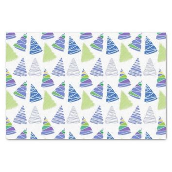 "Blue Christmas Tree 10lb Tissue Paper, White 10"" X 15"" Tissue Paper"