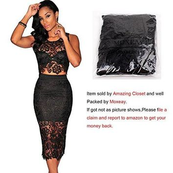 Moxeay® Sexy Sleeveless Lace Stitching Two Piece Cocktail Party Dress