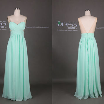 Mint Green Sweetheart Beading A Line Long Prom Dress/Floor Length Chiffon Flowy Prom Dress/Long Party Dress/bridesmaid Dress  DH327