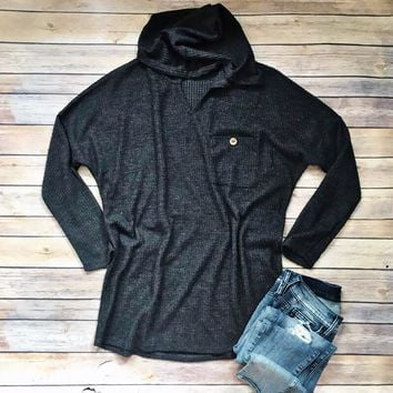 Charcoal Waffle Knit Hoodie Top