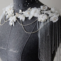 Handmade Luxurious Shawl for a Boho Wedding Gown made with hand made small flowers and Rhinestone Crystals beads