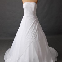 A-line Strapless Sleeveless Cathedral Train Chiffon  Wedding Dress With Beading Free Shipping