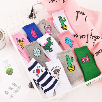 Novelty Funny Tape Banana Landmine Cactus Conch Lighting Korean Flag Cotton Socks Harajuku Women Men Cartoon Crew Socks