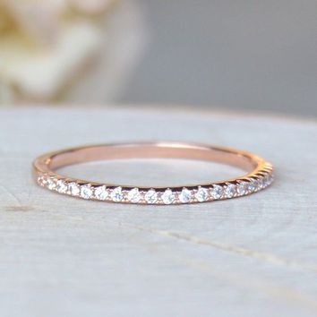 Lovely Rhinestone Ring Solid 14K Rose Gold CZ Elegant Thin Ring Anniversary Engagement Wedding Valentines Day Gift Ring For Wome