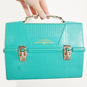 Vintage Turquoise Blue Thermos Brand Lunch Box Plastic Metal Clasps White Handle Back to School Autumn Fall Tool Box Supply Case Eveteam
