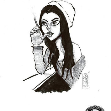 Watcher, brush pen sketch on a4 bristol board Original comic cartoon pin up ink sketch bloody plum pop art girl woman gothic