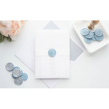 Modern Dusty Blue Vellum and Wax Seal Wedding Invitation - DEPOSIT