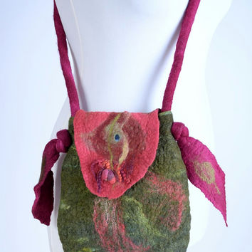 Fantasy, wet felt shoulder bag in olive green & maroon - art, woodland, hand felted, fancy fiber handbag - lined designer purse [T10]