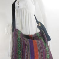Handbag Hippie Hobo Crossbody Messenger Boho Bag Hmong Purse Nepali Cotton E-HMC03