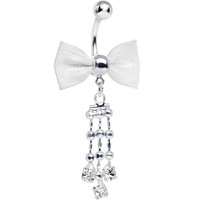 Clear Gem Droplets and Silvery Bow Tie Dangle Belly Ring | Body Candy Body Jewelry