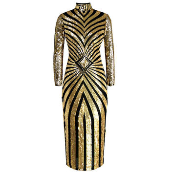 2016 New Autumn and Winter European and American Women's Club Nightclub Sequined Geometric Pattern Female Long Dress ST153