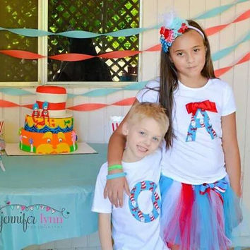 Dr Seuss Birthday SHIRT AND TUTU with letter or number, Cat in the Hat Themed party, Newborn, baby, child, toddler