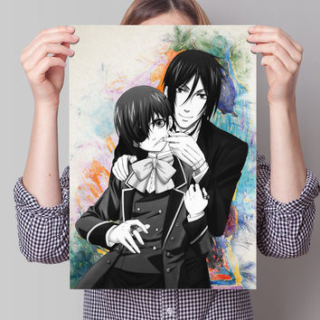 "Black Butler Kuroshitsuji Anime Manga Watercolor Poster  11,7"" x 16,5"" no433"