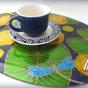 Oval Tray  Hand Painted Dragonflies and Yellow Lilies Stand Glass Painting Glass Artistry Ready to Ship