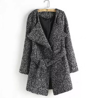 Tie-Waisted Long-Sleeve Lapel Knitted Coat