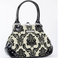Rock Rebel Mistress Kisslock Black and White Handbag