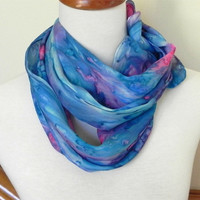 Long silk scarf hand painted deep pink and shades of blue, crepe silk scarf #408, ready to ship, rainy garden window