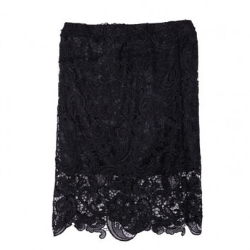 New Fashion Sexy Female Luxury Vintage Gold Skirt Cutout Flower Lace High Waist Skirt Slim Hip Skirt Pencil Skirt