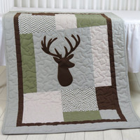 Deer Crib  Bedding,  Deer Crib Quilt,  Deer Baby Blanket, Deer  Head  Blanket, Chevorn, Green, Gray, Brown