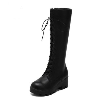 Lace Up Round Toe Zipper High Heel Boots