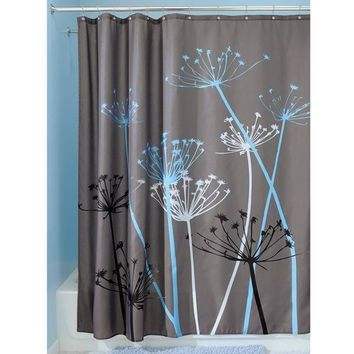 Fabric Shower Curtain - Grey and Blue