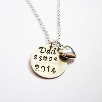 Personalized Dad Necklace, daddy necklace, dad gift, father jewelry, hand stamped necklace, dad since, new father, new dad, fathers day