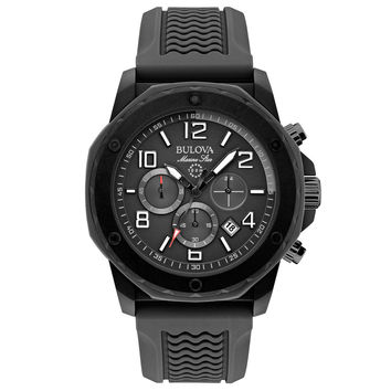 Bulova 98B223 Men's Marine Star Sport Black Dial Black Rubber Strap Chronograph Watch