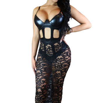 Hollow-out Faux Leather Bodysuit with Sheer Mesh Skit