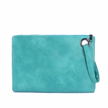 Women's Large Flat Mint Blue Envelope Wristlet Clutch Purse