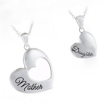 """Stainless Steel """"Piece Of My Heart"""" Mother-Daughter Pendant Necklace Set"""