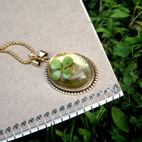 Real 4 Leaf Clover Cameo Oval with Darling by AsLuckWouldHaveIt